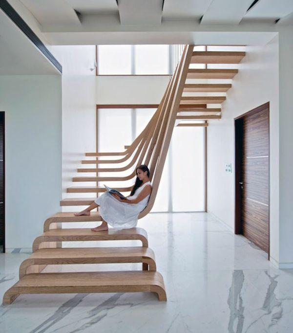 nachhaltiges design holztrittstufen im treppenhaus | home, Innenarchitektur ideen