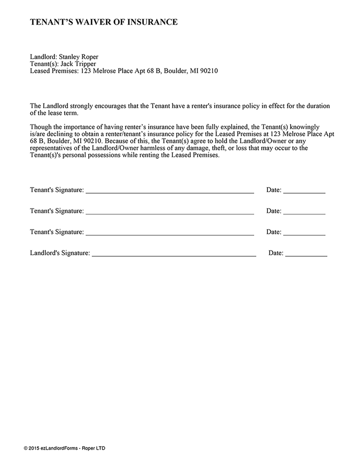 Tenant S Waiver Of Insurance Ez Landlord Forms Being A