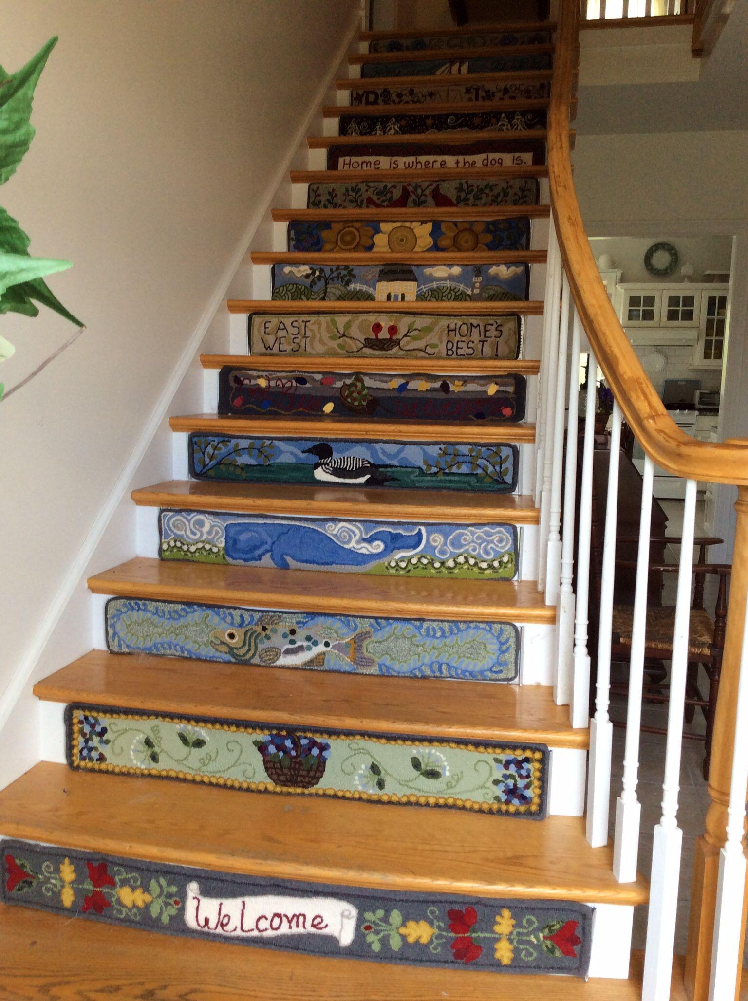 Best Rug Hooked Stair Risers Hooked Rugs Primitive Rug Hooking 400 x 300