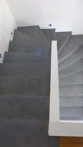 comment r aliser un escalier en b ton cir en r novation pinterest escalera casa. Black Bedroom Furniture Sets. Home Design Ideas