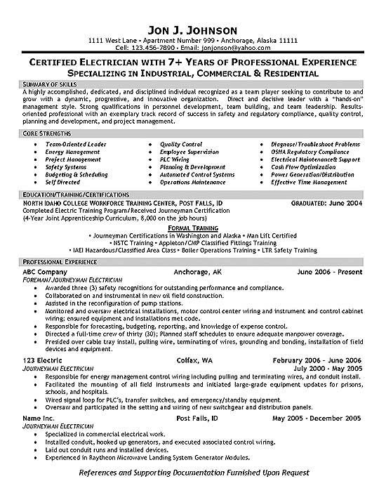 Electrician Resume Example | Resume examples and Job search
