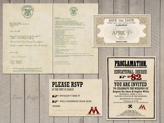 wedding invitation set harry potter save the door sophieslovebirds - Harry Potter Wedding Invitations