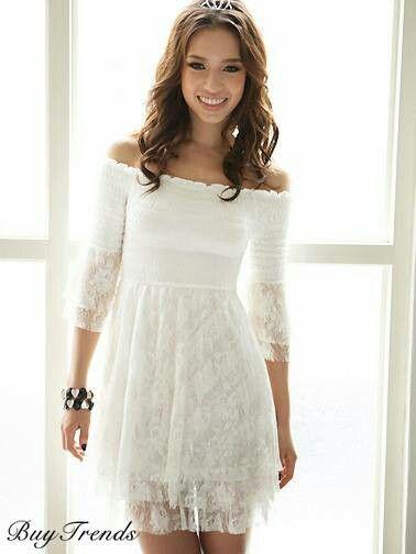 591ebf5f63fa Vestido blanco | vestidos cortos | Vestidos blancos encaje, Vestidos ...