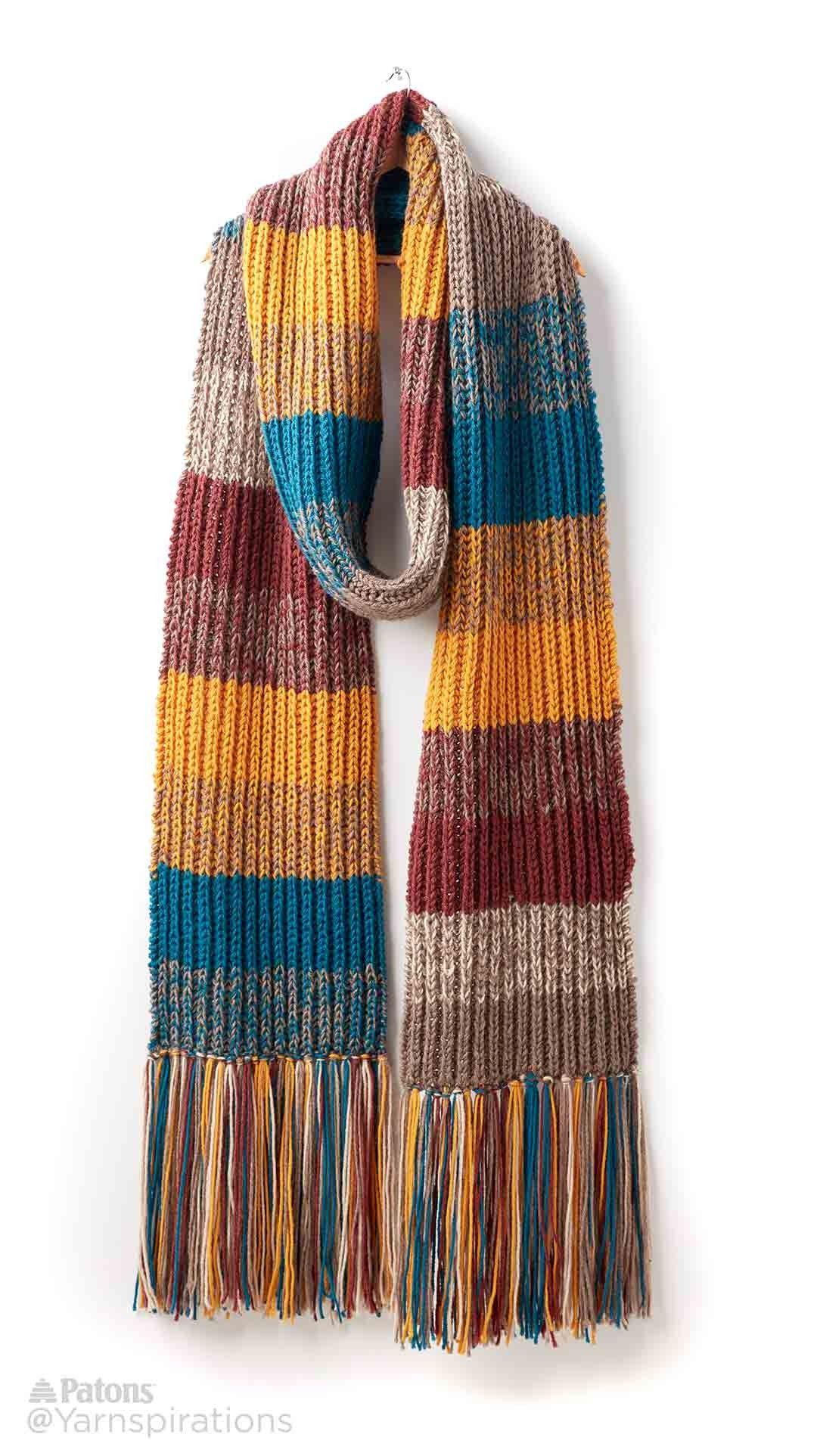 Marl Stripe Knit Super Scarf - Patterns | Yarnspirations | Crochet ...