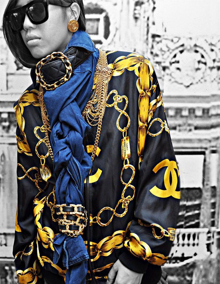 Chanel Chain Denim Zip Jacket (super dope!!)