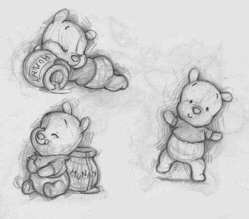 Baby pooh bear drawing  color me  Pinterest  Bear drawing