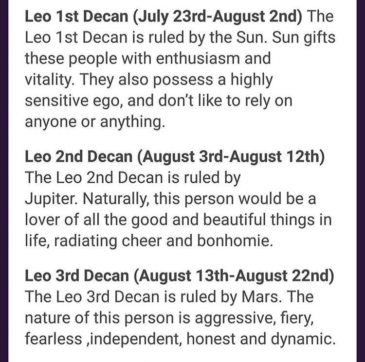 decan horoscope leo