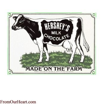 Hershey cow made on the farm  vintage ad steel sign reproduction
