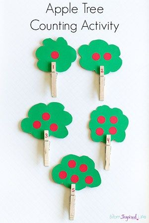 This apple tree counting activity uses clothespins for added fine motor practice. Children will practice counting, 1:1 correspondence and subitizing.