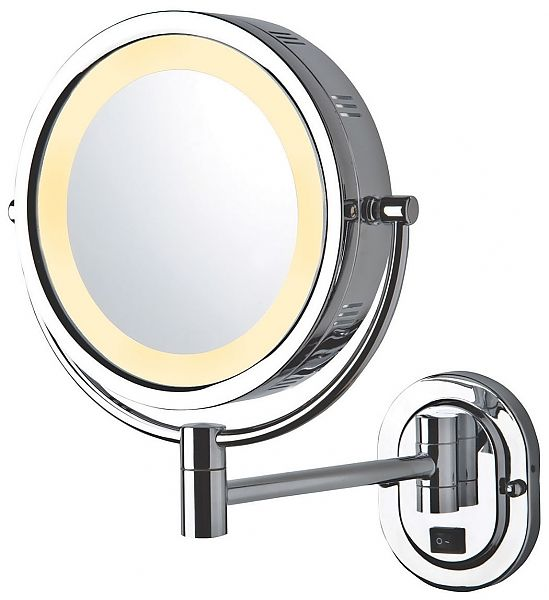 Jerdon Hardwired Reversible 3x 1x Wall Mounted Lighted Makeup
