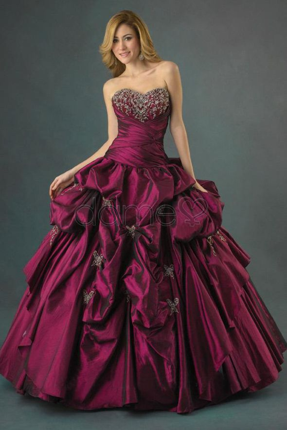 long ball dress in red-purple with a wide skirt   cute close and ...
