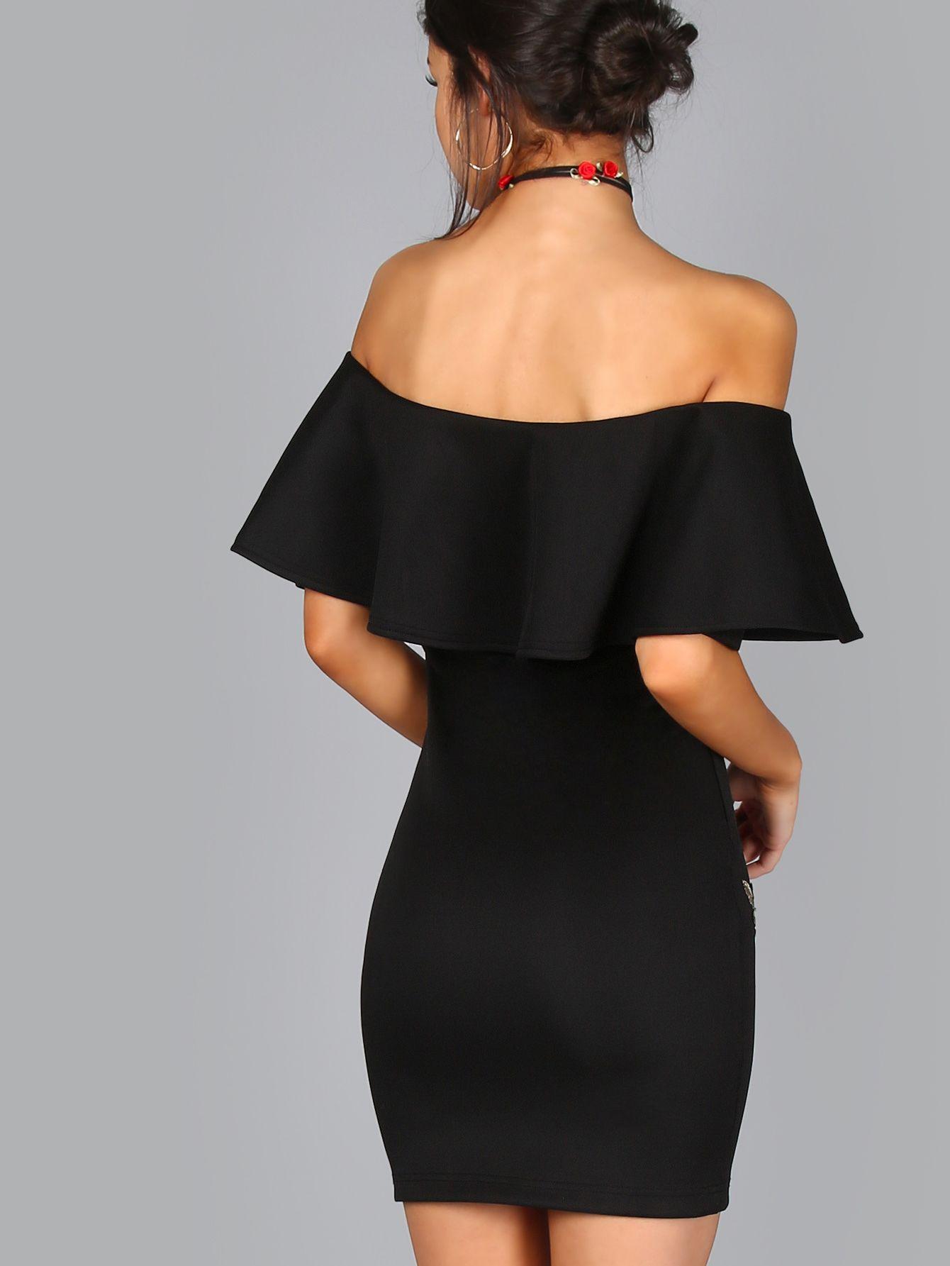 Embroidered Rose Applique Off Shoulder Ruffle Dress  Modestil