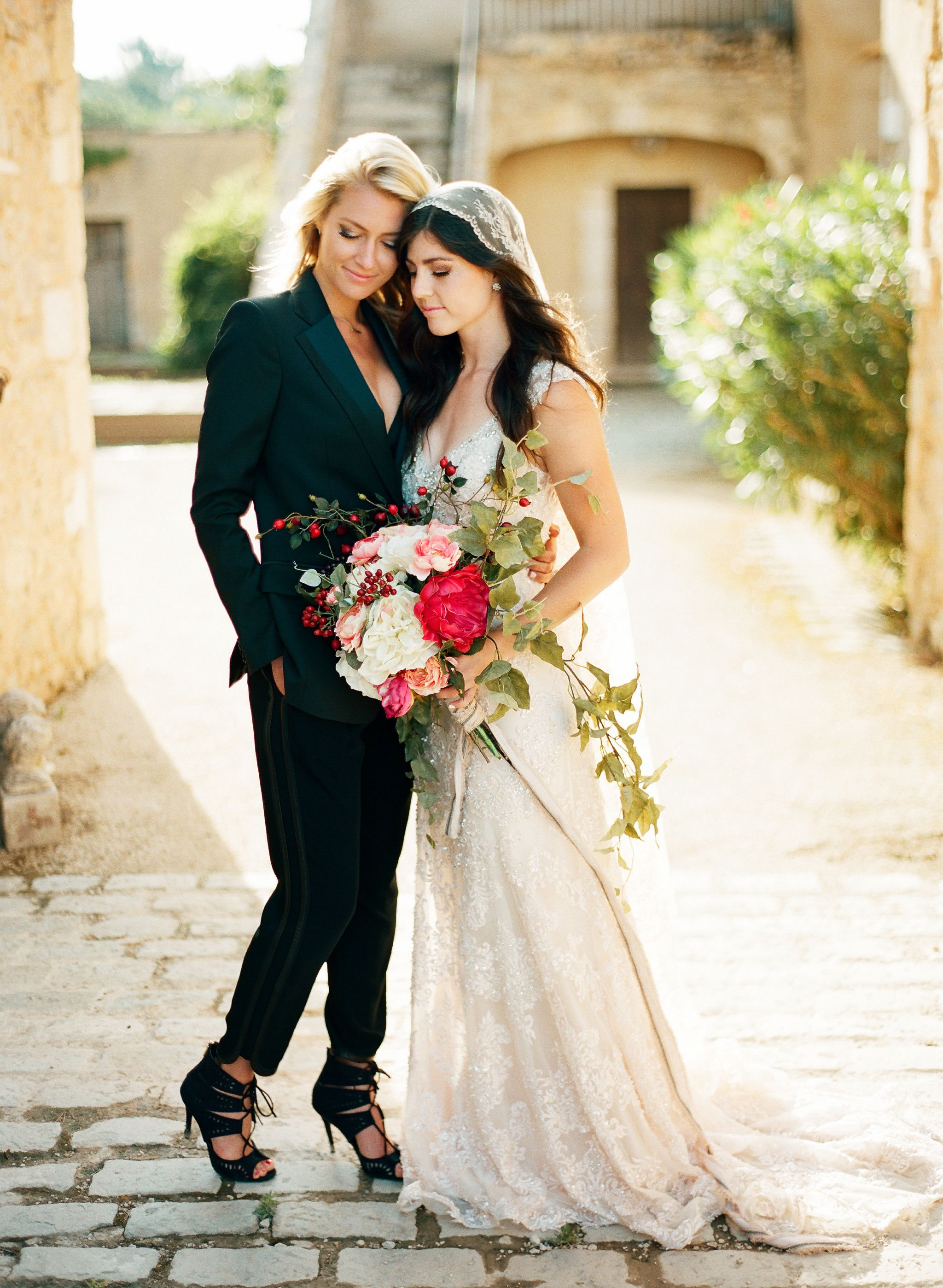 Intimate wedding inspiration in the south of france for Lesbian wedding dresses and suits