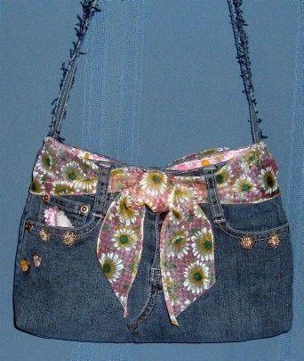 Más de 30 proyectos de costura de moda denim jeans reciclados  – Bolsa