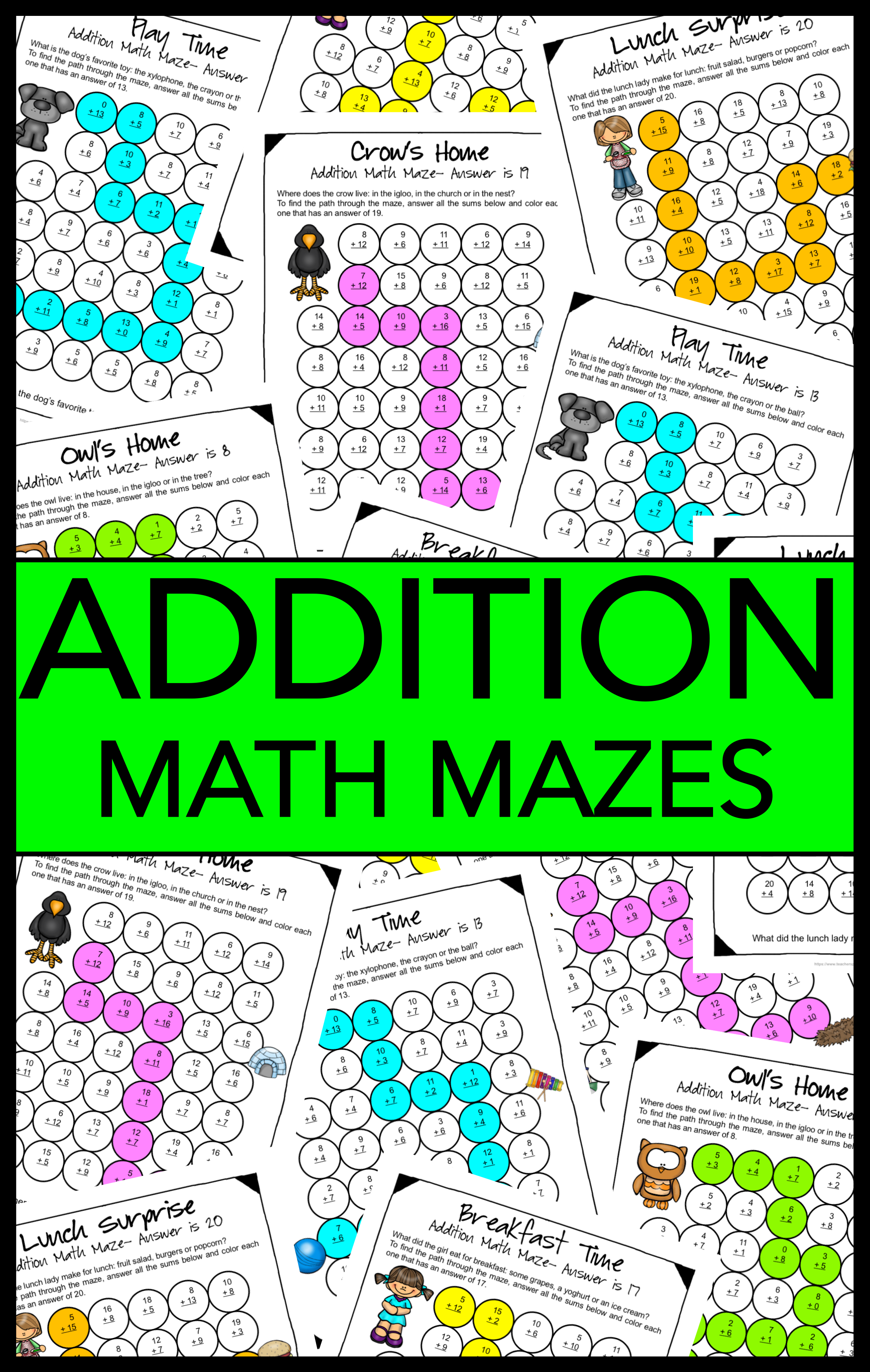 Addition Math Mazes Addition Worksheets For Practising