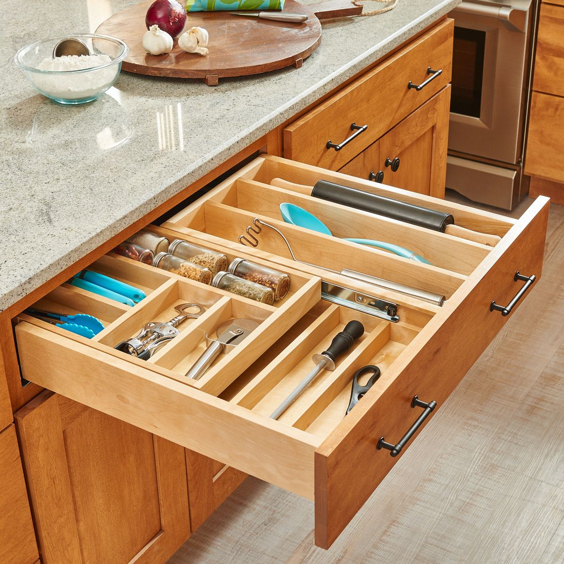 2 Tiered Wood Cutlery Pull Out Drawer Cutlery Drawer Rev A Shelf Kitchen Design