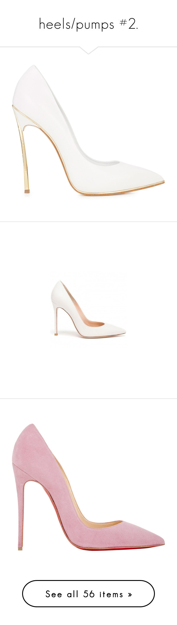 """heels/pumps #2."" by stylinsonbtw ❤ liked on Polyvore featuring shoes, pumps, heels, sapatos, high heels, white, white pointed-toe pumps, white high heel shoes, slip-on shoes and high heel pumps"