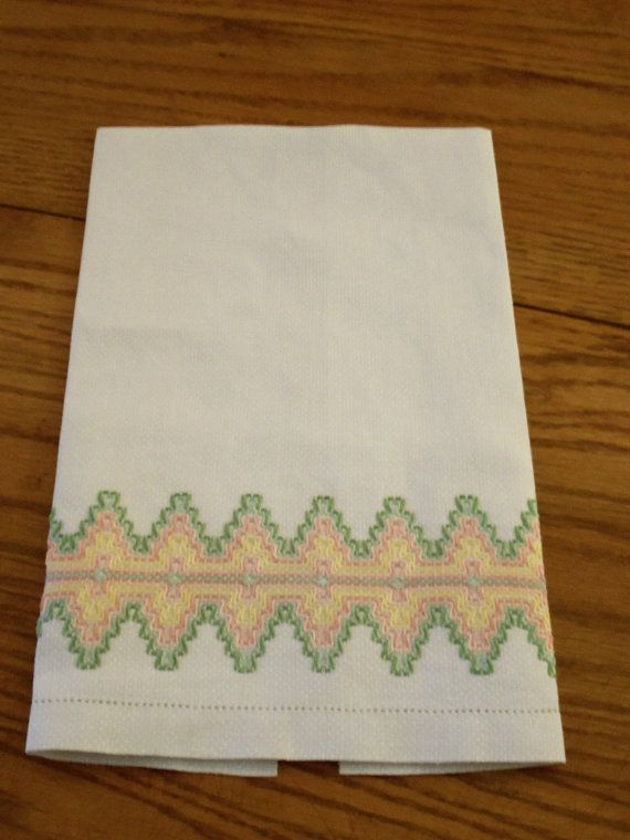 Vintage Swedish Weaving Hand Towel, Classic Design in Spring Colors ...