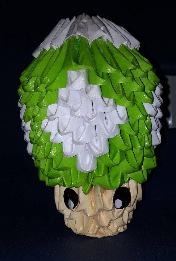 3d Origami Green Super Mario Mushroom 3d Origami Origami And 3d