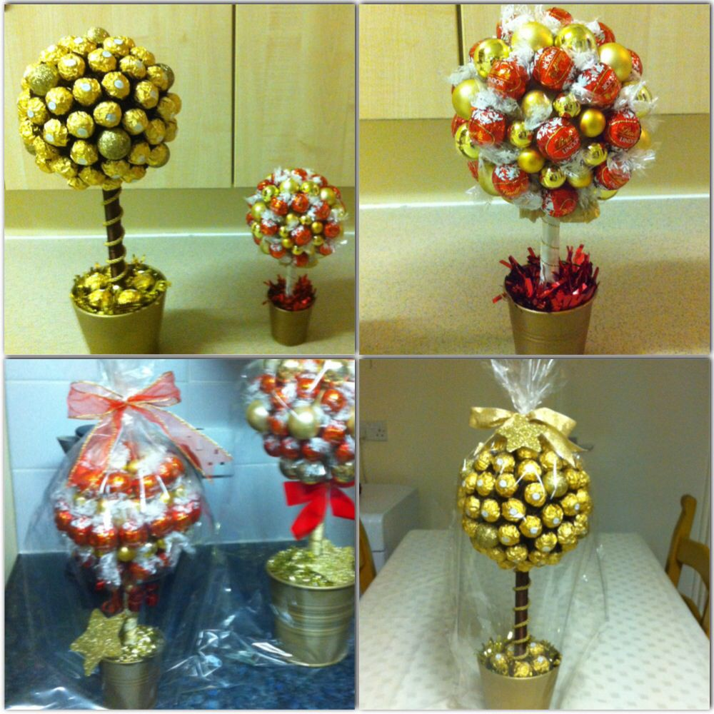 Sweet Trees Made Of Ferrero Rocher And Lindor Chocolates A Polystyrene Ball On