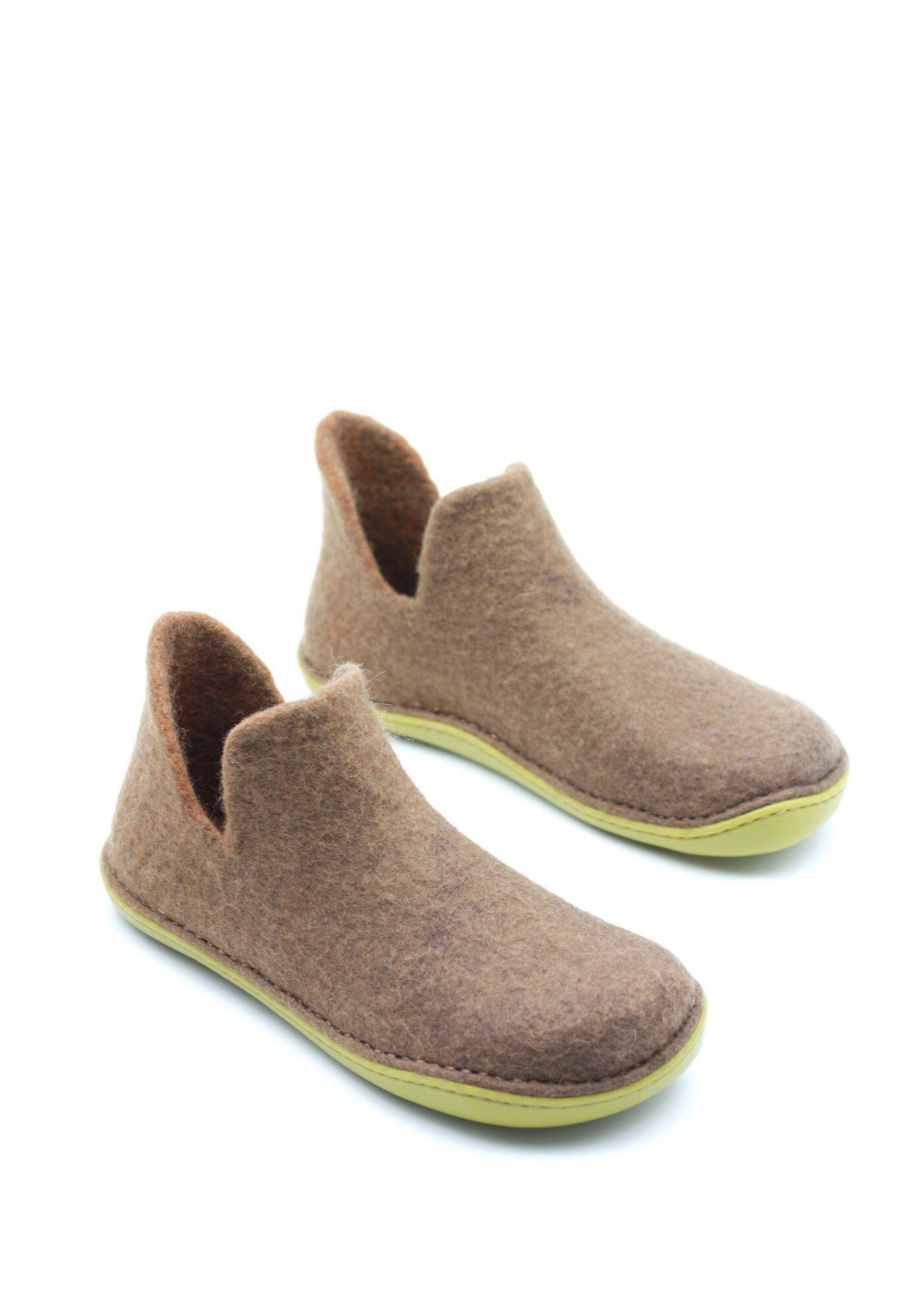 Photo of Items similar to LUCIELALUNE handmade felted wool women winter loafer rubber soles outdoor unisex shoes AS6j on Etsy