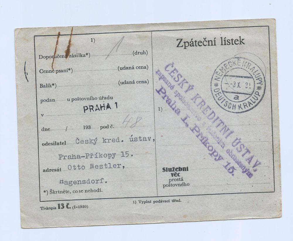 Czechoslovakia 1931 Nice Card with Cancel Nemecke Kralupy???