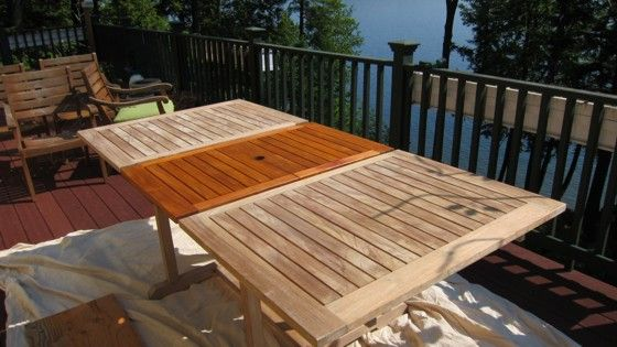 Restoring A Weathered Teak Table Outdoor Wood Furniture Teak Outdoor Furniture Wooden Outdoor Furniture