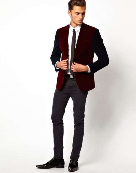Images of Mens Red Velvet Blazer - Reikian