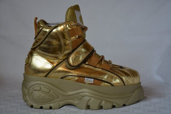 competitive price 4e8b8 5c9fc RARE golden Buffalo platform boots 8 cm vintage spice girls ...