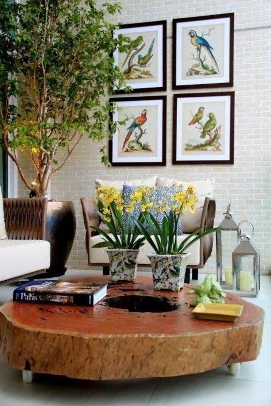 Decorando com móveis de madeira maciça   Mesas, Centro y Rústico