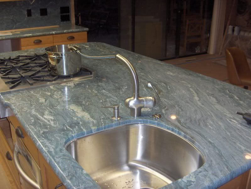 Prep Sink Corner Of Island With Faucet On Inside Corner Allows It To Be Used From Either Side Also The Counter Blues And Greens Prep Sink Sink Macaubas
