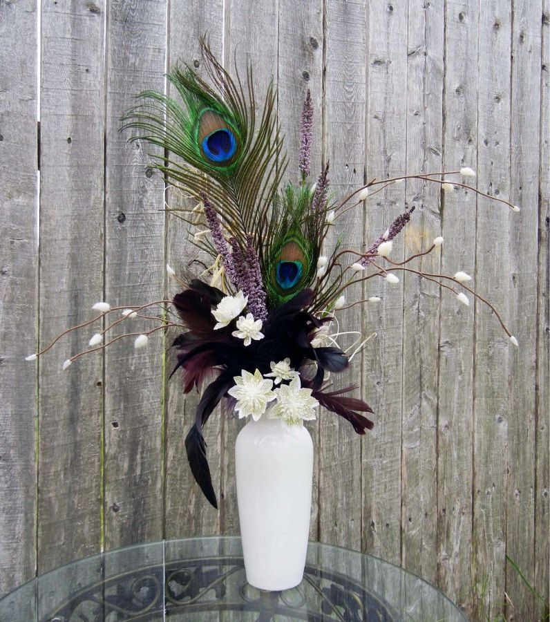 Peacock Feather And White Vase This Could Minimize Flowers Needed Could Use Fake Fir The