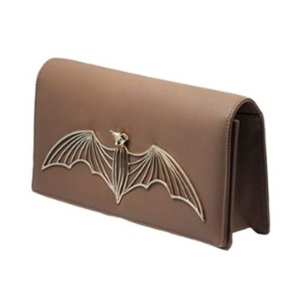 Bernard Delettrez Gold Bat Clutch (1 305 AUD) ❤ liked on Polyvore featuring bags, handbags, clutches, brown handbags, chain strap purse, gold clutches, gold handbag and bernard delettrez