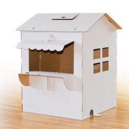 ein haus aus karton zum bemalen und spielen basteln. Black Bedroom Furniture Sets. Home Design Ideas