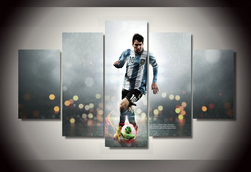 Canvas Painting Cuadros 5 Piece Unframed Painting Leo Messi Group ...
