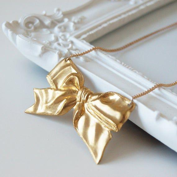 Photo of Goldene Seidenkette, vergoldete Halskette, Messinghalskette, Schleifenhalskette, vergoldete Bogenhalskette