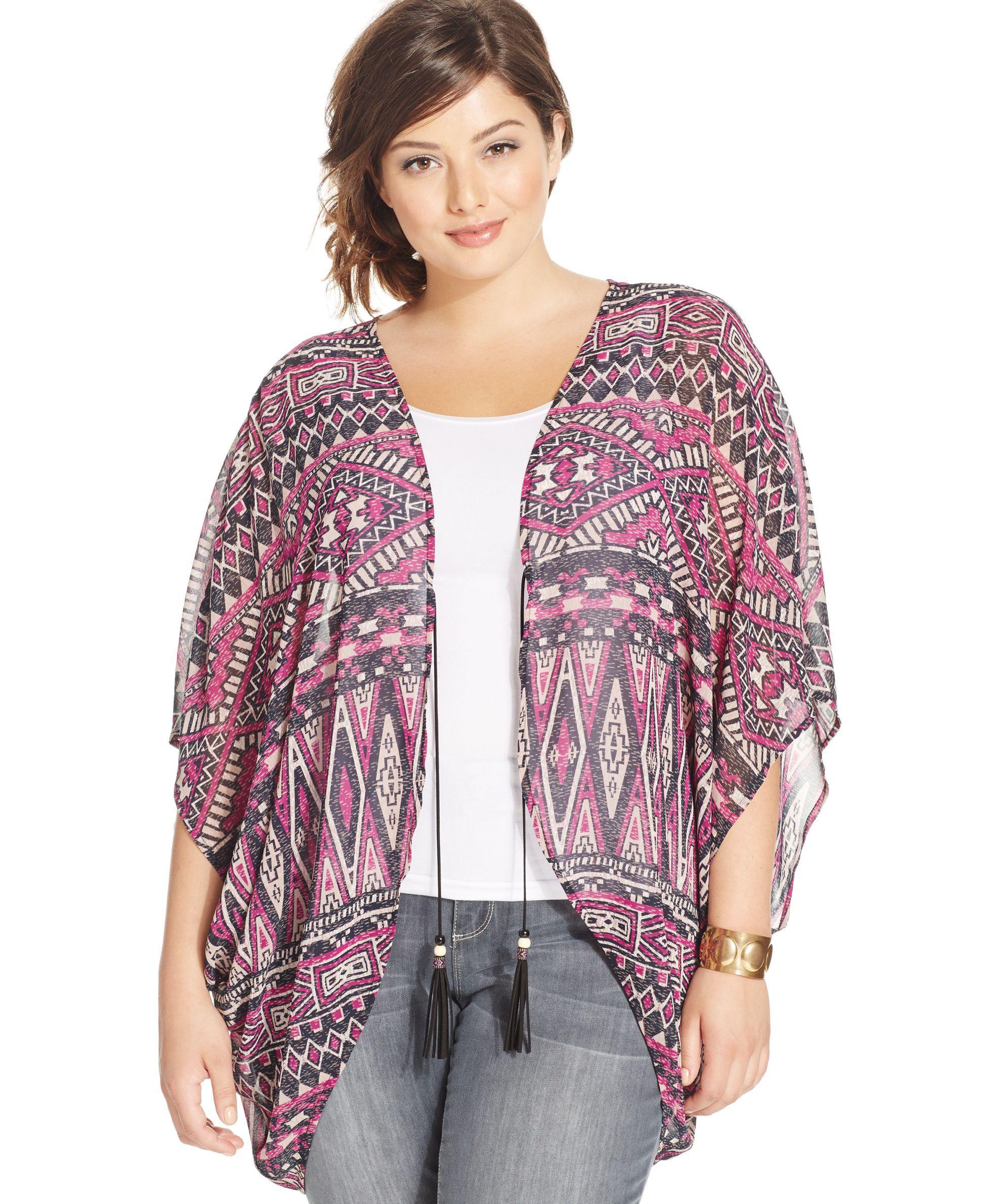 Eyeshadow Plus Size Geo-Print Kimono Cardigan | Moda | Pinterest ...