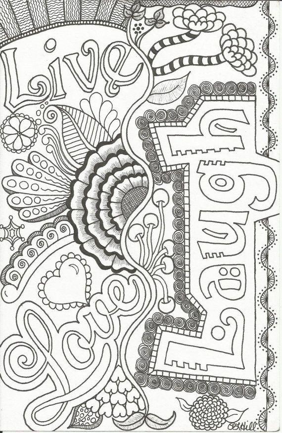 Live, Love, Laugh Doodle by PLHill | Ausmalbilder, Mandala ...