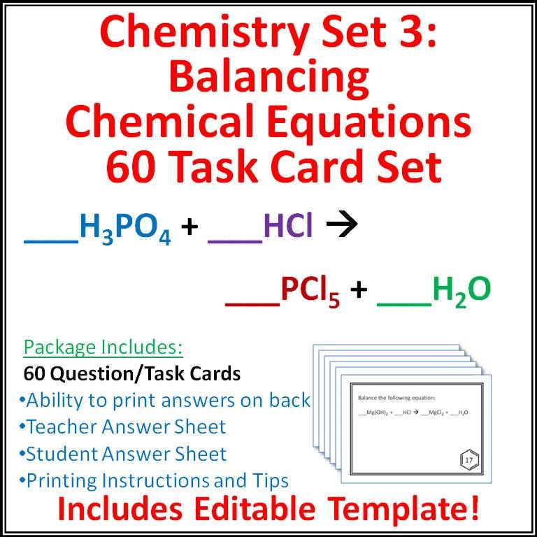 Chemistry Task Cards  Set  Balancing Chemical Equations  Task