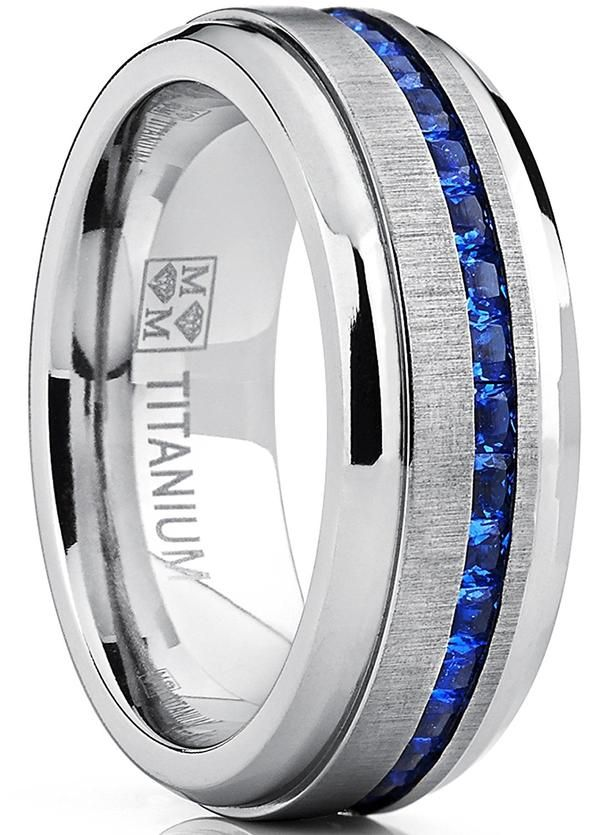 Titanium Ring White Diamond Simulated Wedding Band Bridal Jewelry Size 6-13