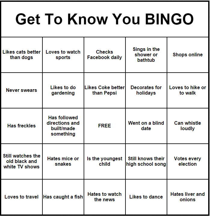 get to know you bingo get to know you activities team building activities teen