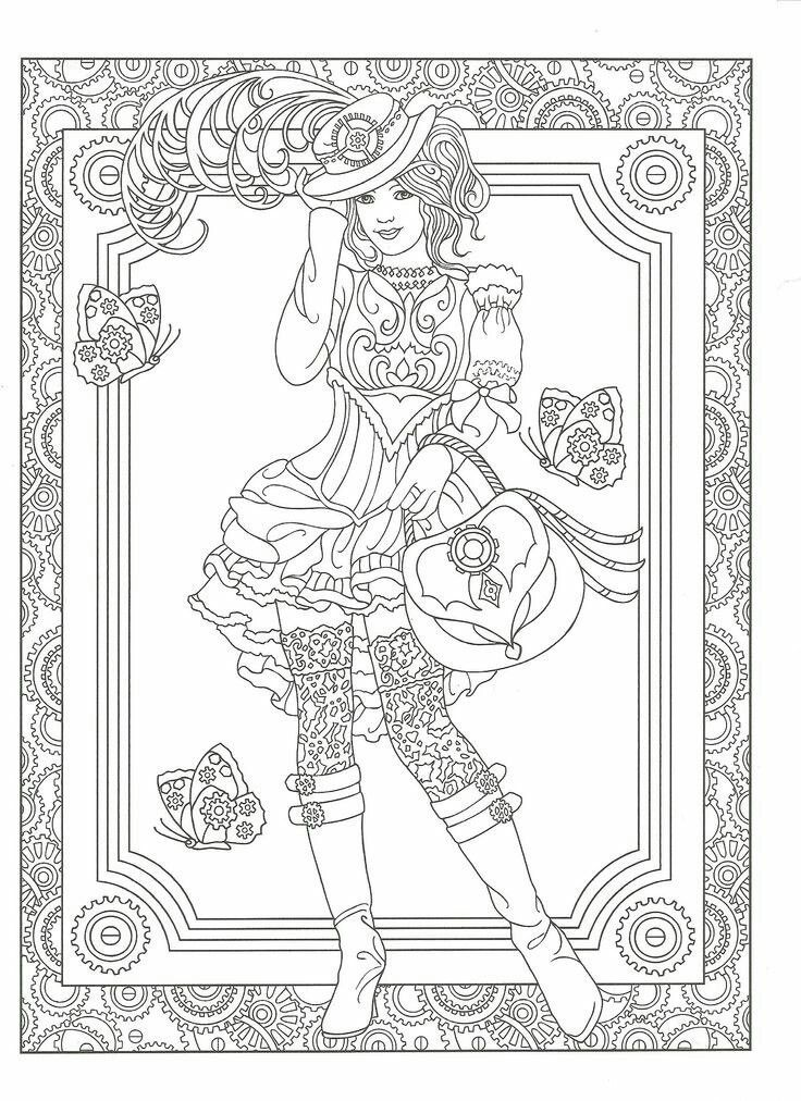 Adult Coloring Page From Creative Haven Steampunk Fashions Book Dover Publications Artwork By Marty Noble