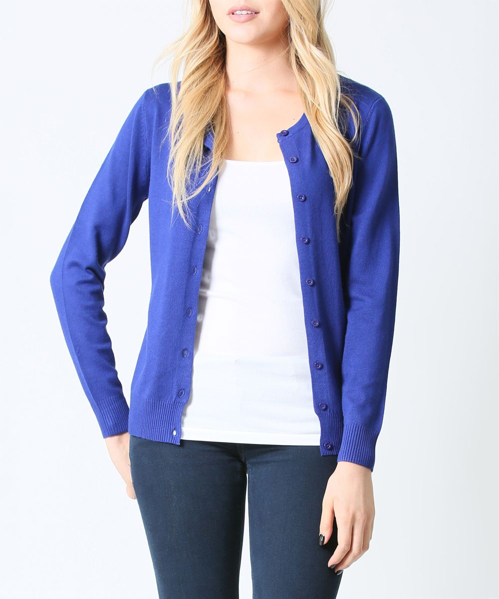 Royal Blue Button-Up Cardigan - Plus | Blue cardigan, Royal blue ...