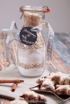 Backmischung im Glas für Zimtsterne #quickcookierecipes