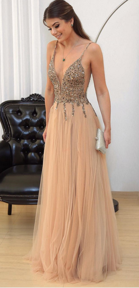 A-Line Deep V-Neck Floor-Length Champagne Tulle Prom Dress with ...