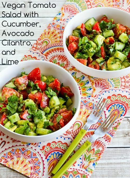 Vegan Tomato Salad with Cucumber, Avocado, Cilantro, and Lime; make this NOW if you have fresh garden tomatoes and cucumbers! [from Kalyn's Kitchen] #LowCarb #GlutenFree #Vegan #SouthBeachDiet