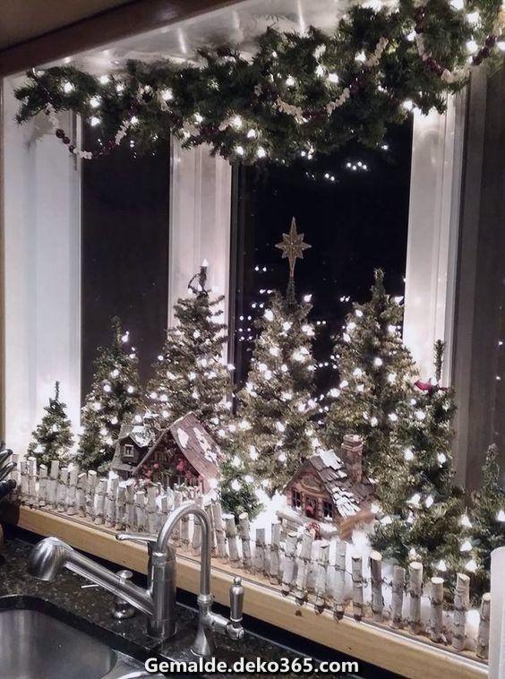 Spektakulär Ein Weihnachtsdorf zum Selbermachen, um Magie in Ihr Zuhause zu herbringen! Ideen #fensterdekoweihnachten