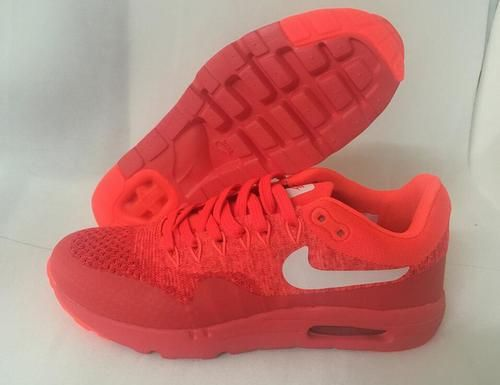 best sneakers c316c ab47c Womens Mens Nike Air Max 1 Ultra Moire Flyknit Red Orange White - Air Max