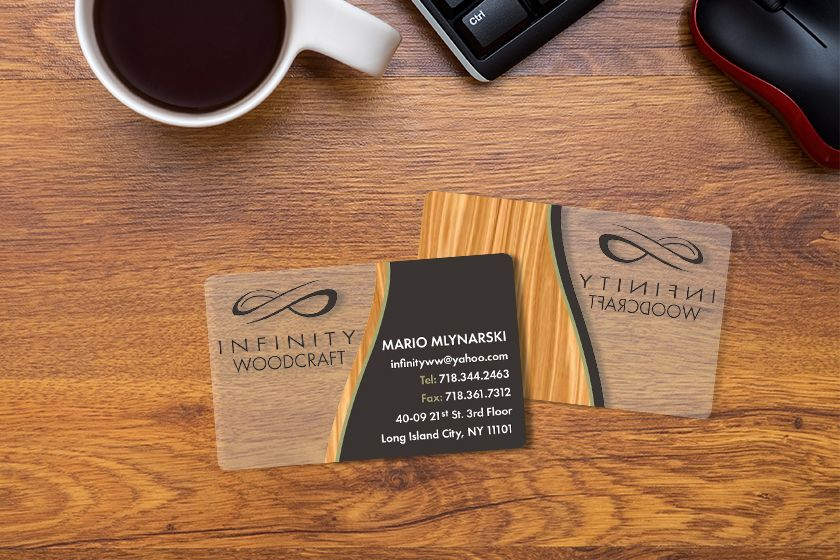 Frosted infinity woodcraft business card business cards frosted business cards custom plastic cards from plastic printers reheart Image collections