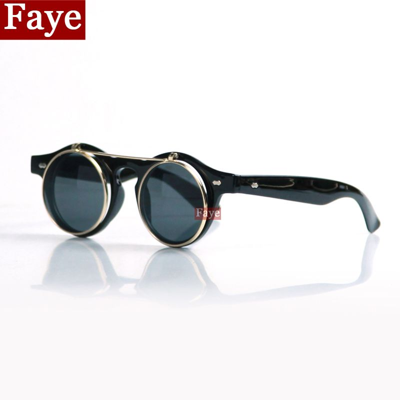 New Fashion Flip Double Round Sunglasses Brand Designer Men Steampunk Sun Glasses Retro Women Eyewear fTjFL4P8